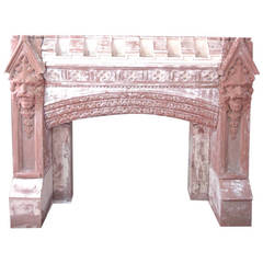 Carved Gothic Fireplace Mantel from a New York Estate