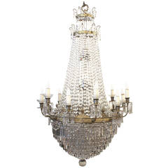 1927 Large Louis XVI Style Crystal Chandelier with 12 Tiers