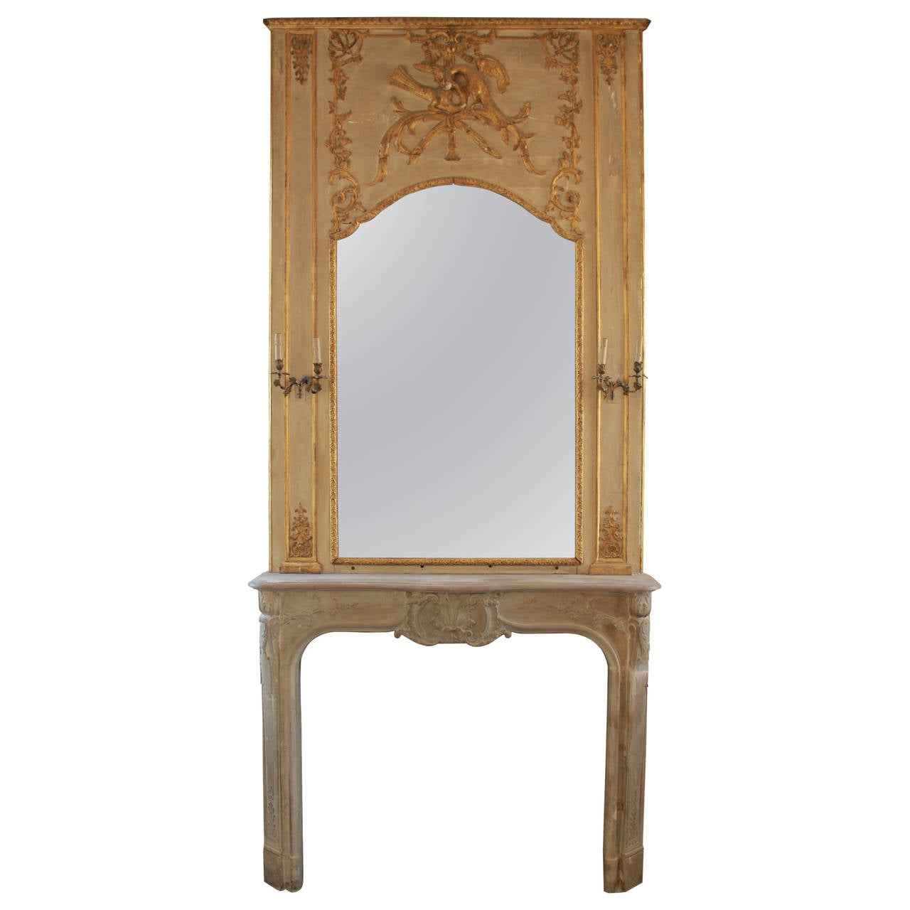 1925 limestone mantel with large gilded overmantel mirror. Black Bedroom Furniture Sets. Home Design Ideas