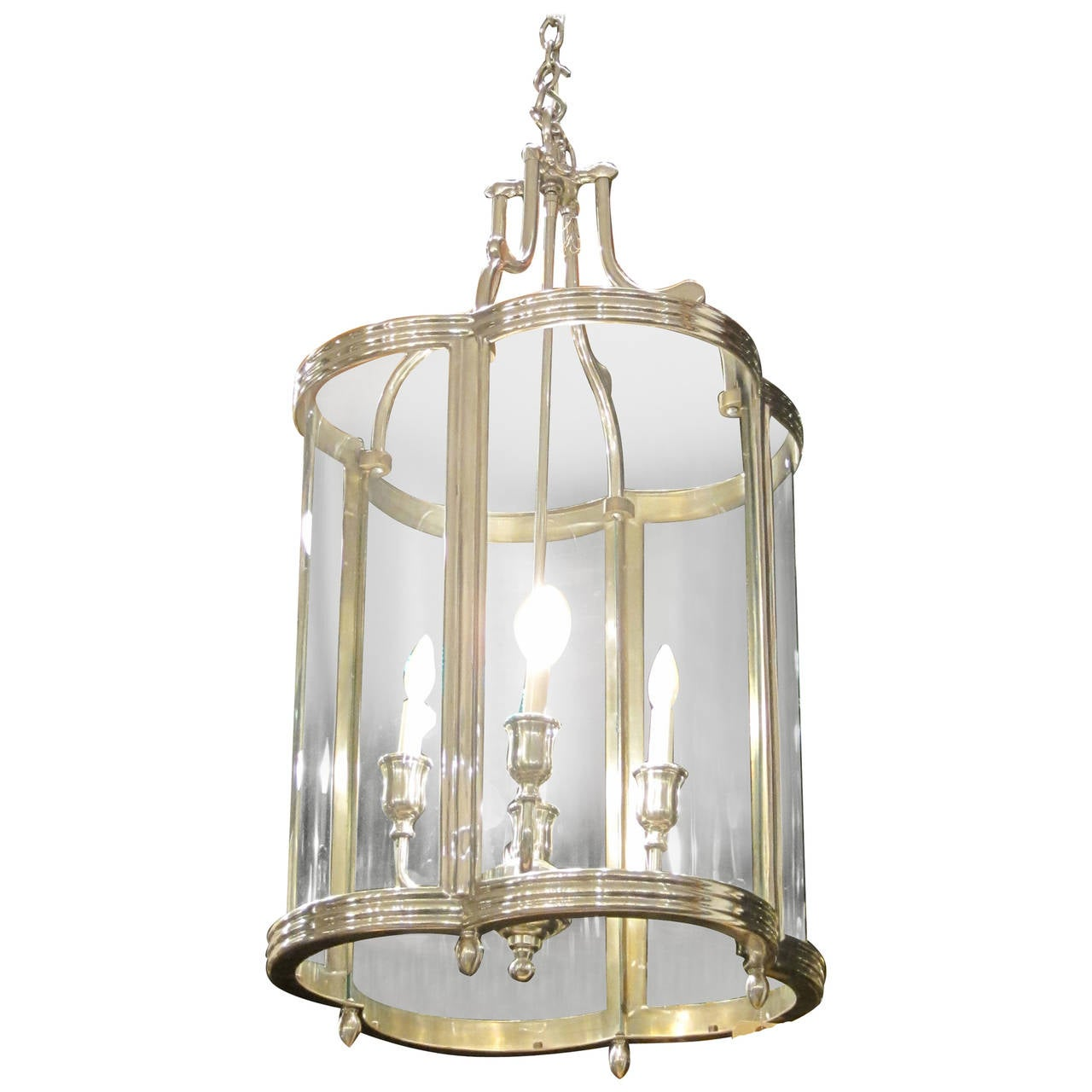 Georgian Style Quatrefoil Pendant Lantern With Curved