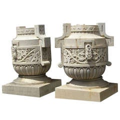 Pair of Huge Decorative Limestone Urns