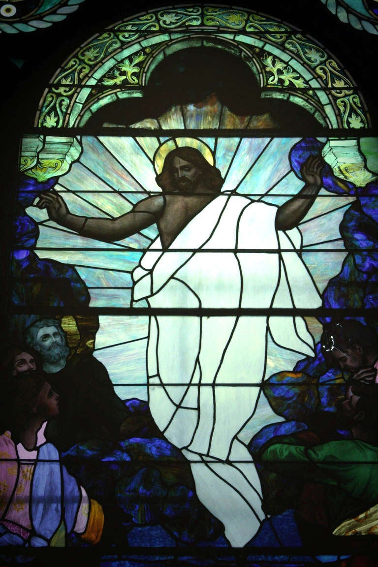 American 1901 Ascension of Our Lord Stained Glass Window from an Altoona, PA Church For Sale