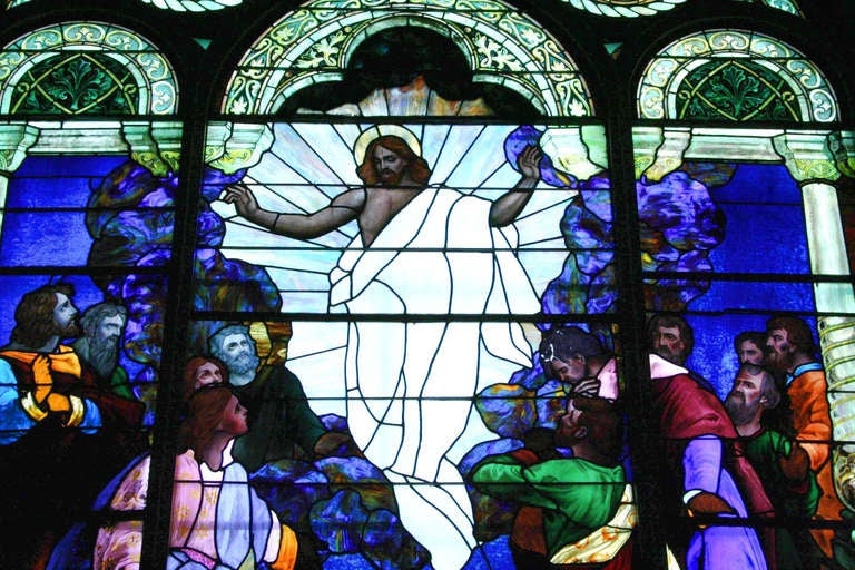 1901 Ascension of Our Lord Stained Glass Window from an Altoona, PA Church In Excellent Condition For Sale In New York, NY