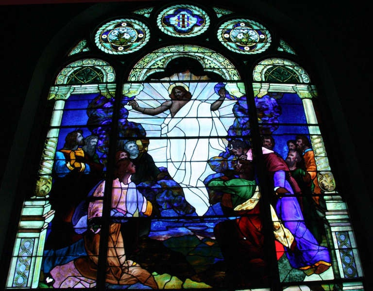 20th Century 1901 Ascension of Our Lord Stained Glass Window from an Altoona, PA Church For Sale