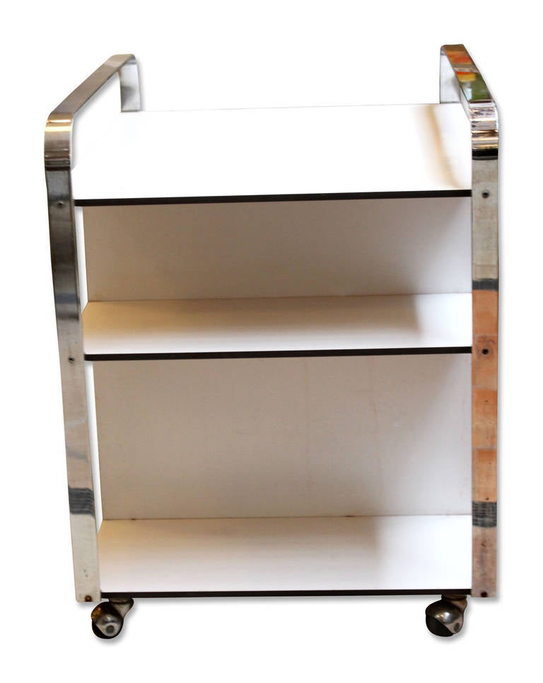 1960s chrome and white mid century modern bar cart from. Black Bedroom Furniture Sets. Home Design Ideas