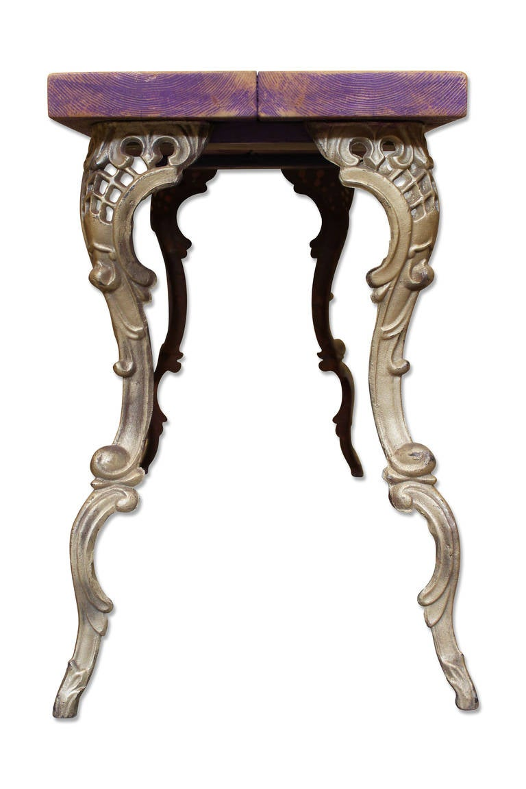 Wooden Top Table With Art Nouveau Style Legs For Sale At