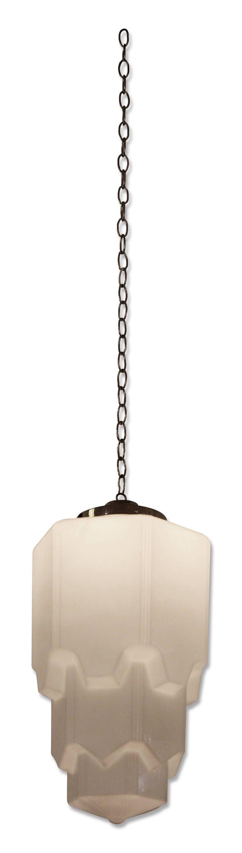 Skyscraper art deco white glass pendant light at 1stdibs Artisan glass pendant lights