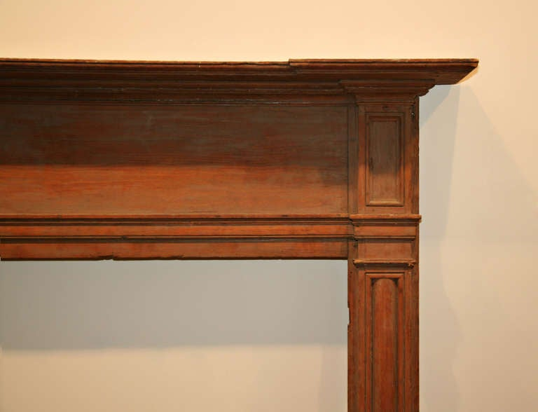 Extra Wide Antique Pine Federal Mantel at 1stdibs