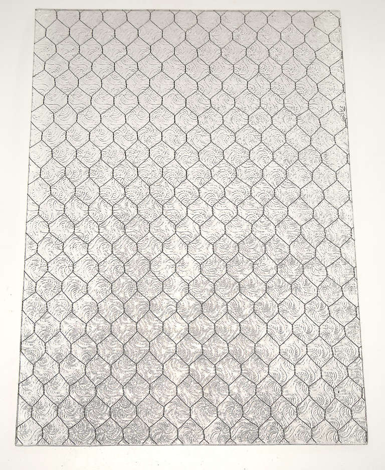 American 1920s Wormy Vintage Chicken Wire Glass For Sale