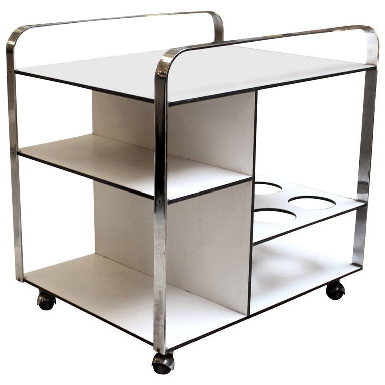1960s Chrome and White Mid-Century Modern Bar Cart from France