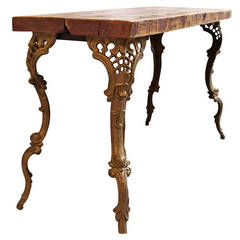 Wooden-Top Table with Art Nouveau Style Legs