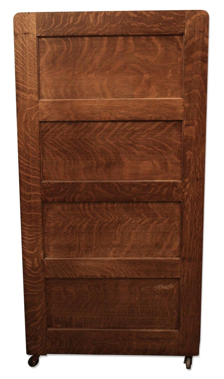 Tiger Oak Four Drawer File Cabinet With Original Hardware