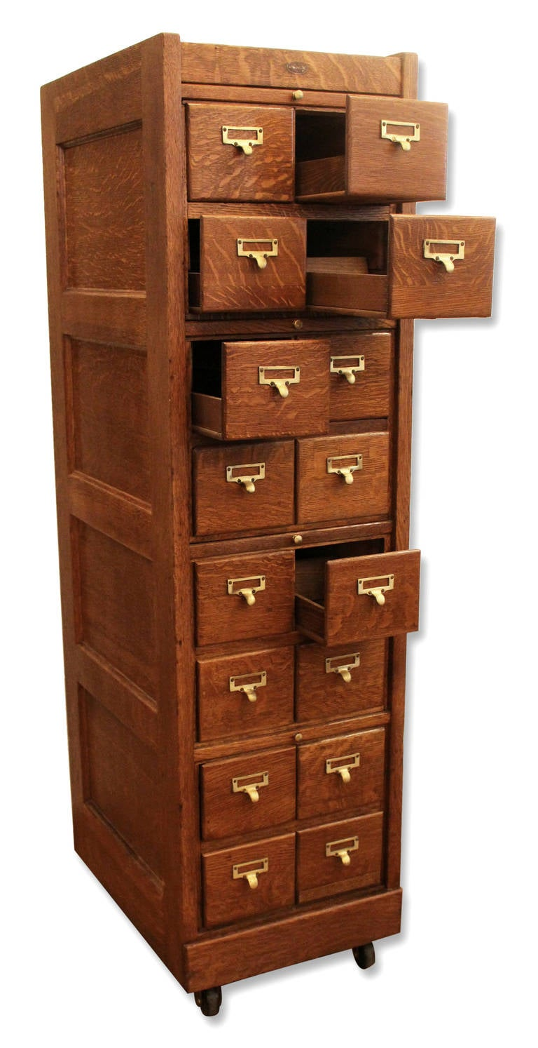 Antique Quartersawn Oak Library Cabinet With Sixteen