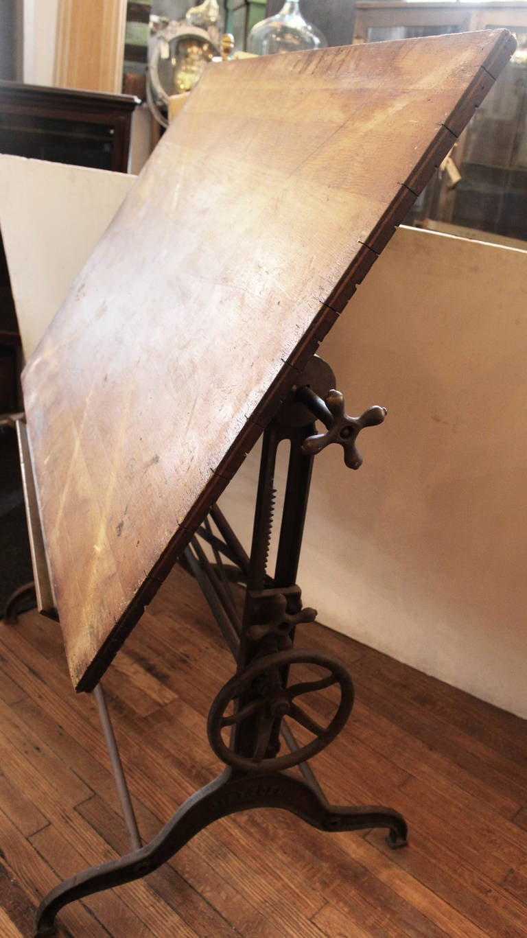 Late 1800s Dietzgen Drafting Table With Adjustable Cast