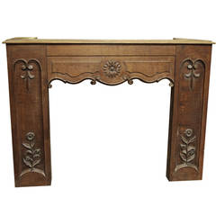 1930s Carved Wooden Chimney Mantel with Floral and Rose Detailing