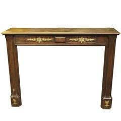 Art Nouveau Carved Oak Mantel with Applique