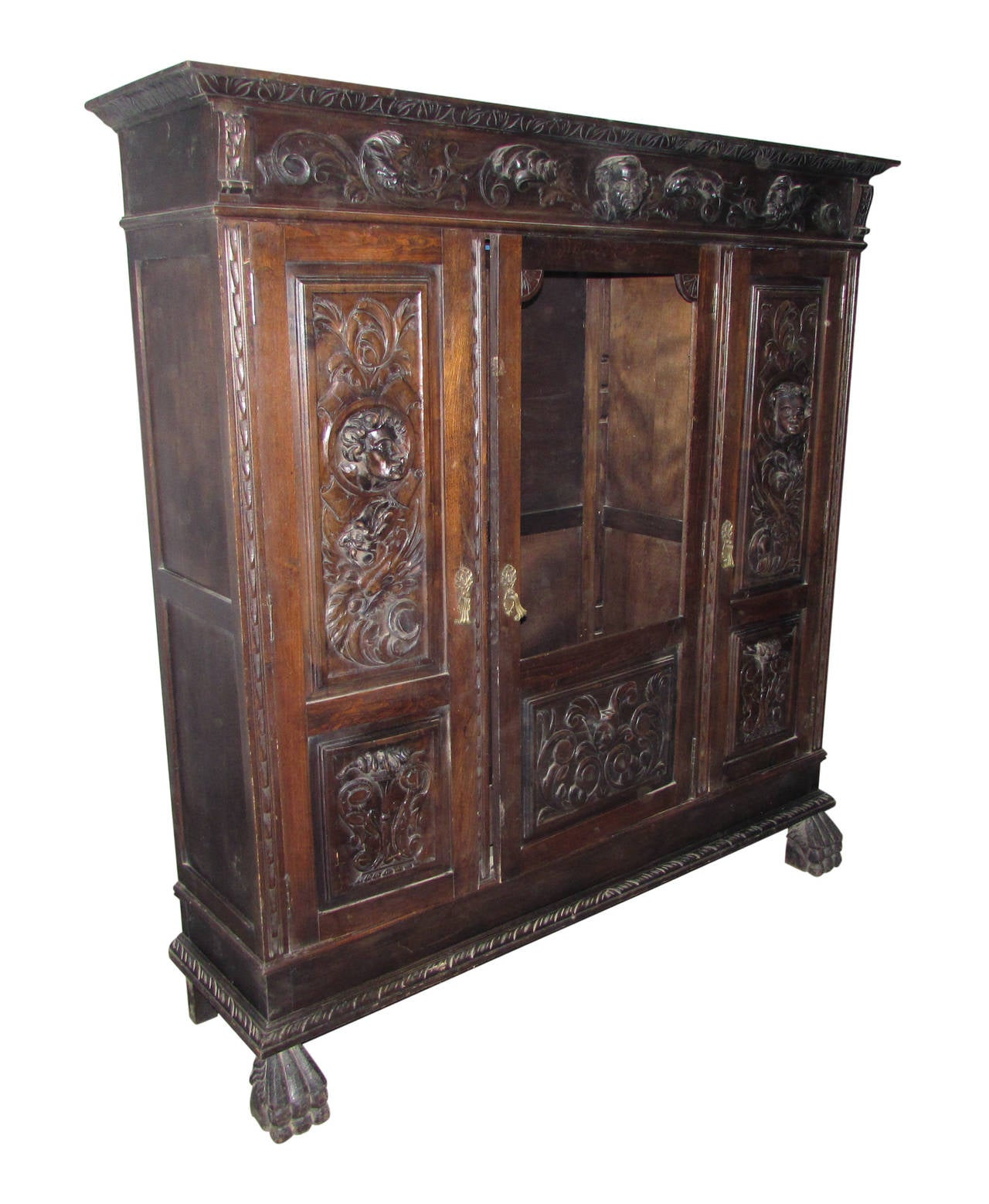 1880s hand carved figural cabinet with claw feet faces for Carved kitchen cabinets