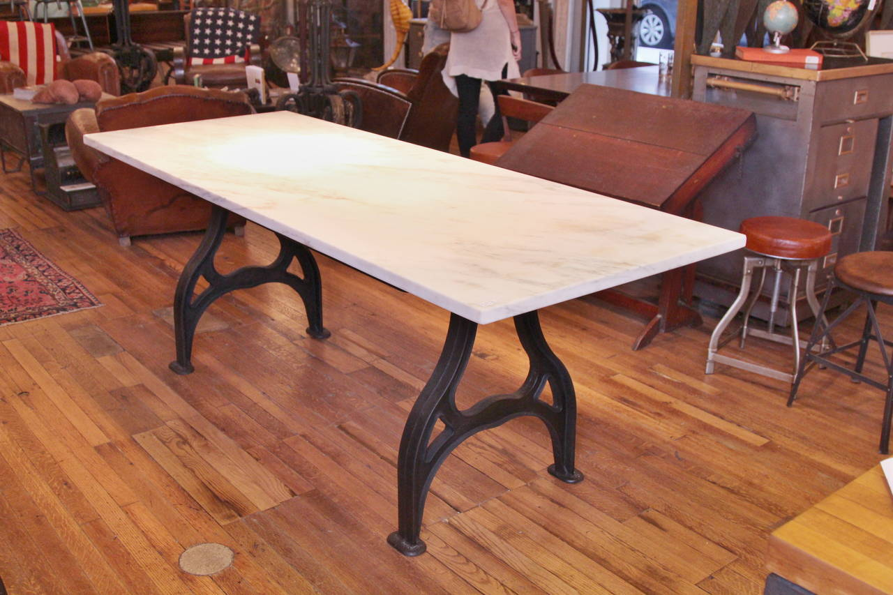 Reclaimed Marble Table With Cast Iron Legs For Gold Calcutta Top From A New York City Historical Building The Is