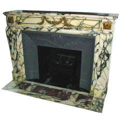 1890s Original Marble Mantel from the Plaza Hotel in NYC with Bronze Ormolu