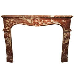1800s Louis XV Period Carved Red snd White Rosa Marble Mantel