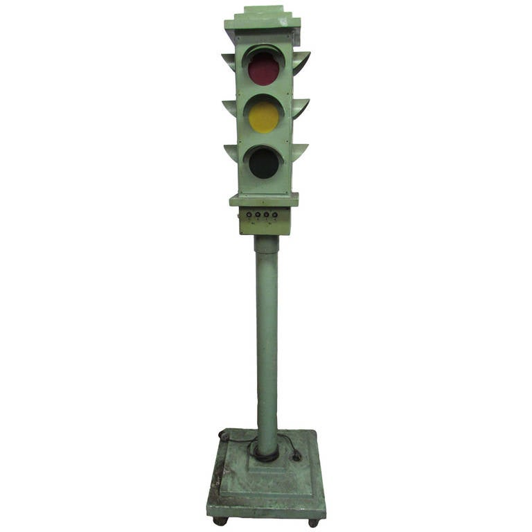 Vintage Green Standing Traffic Light From Pa Grammar