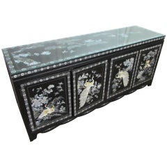 Asian Sideboard with Glass Top
