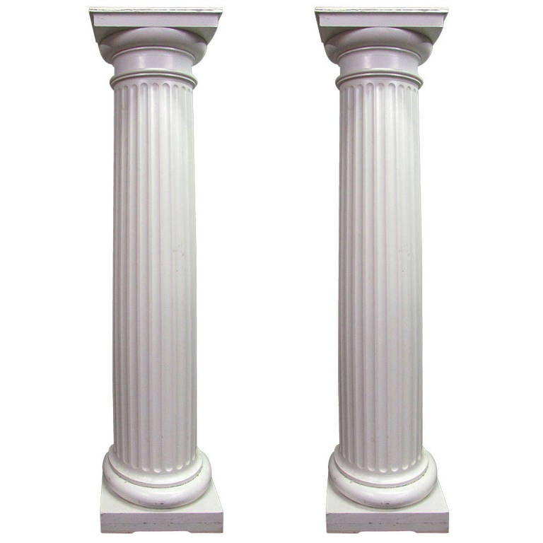 Pair of Large Fluted 3/4 Wood Columns For Sale