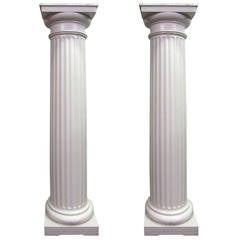 Pair of Large Fluted 3/4 Wood Columns
