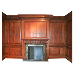 Antique Knotty Pine Paneled Room with Marble Mantel from Manhattan