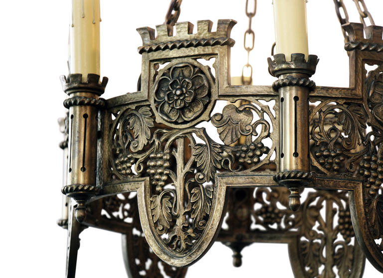 Beautifully Detailed Six Light Bronze English Tudor Style Chandelier For Sale At 1stdibs
