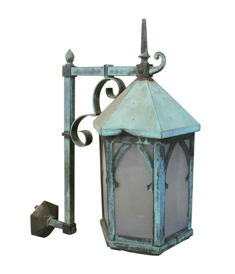 Exterior Copper Wall Sconces : Pair of Bronze and Copper Exterior Sconces at 1stdibs