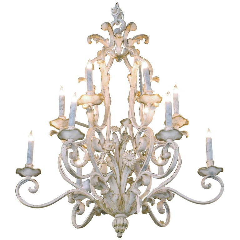1960s French Country Two Tiered Painted Iron Chandelier At