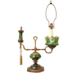 1800s Wired Antique Lamp with Green Glass