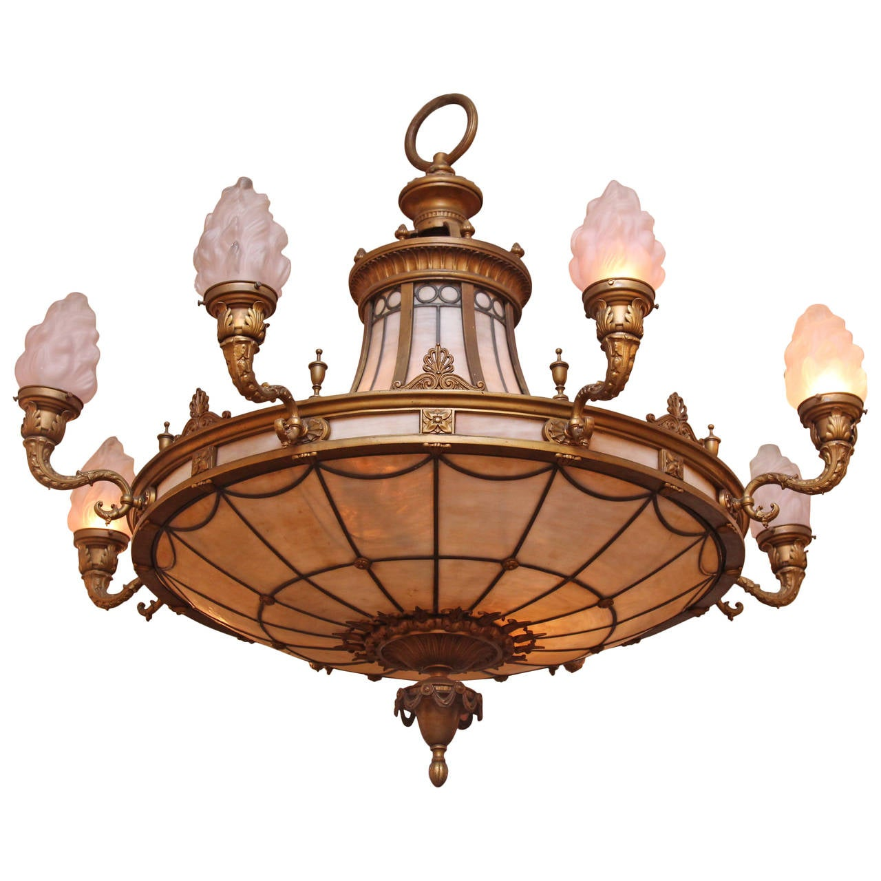 1920s Bronze Chandelier with Torch Shades and Slag Glass For Sale – Bronze Chandelier with Shades