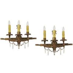 1920s Pair of Bradley and Hubbard Wall Sconces