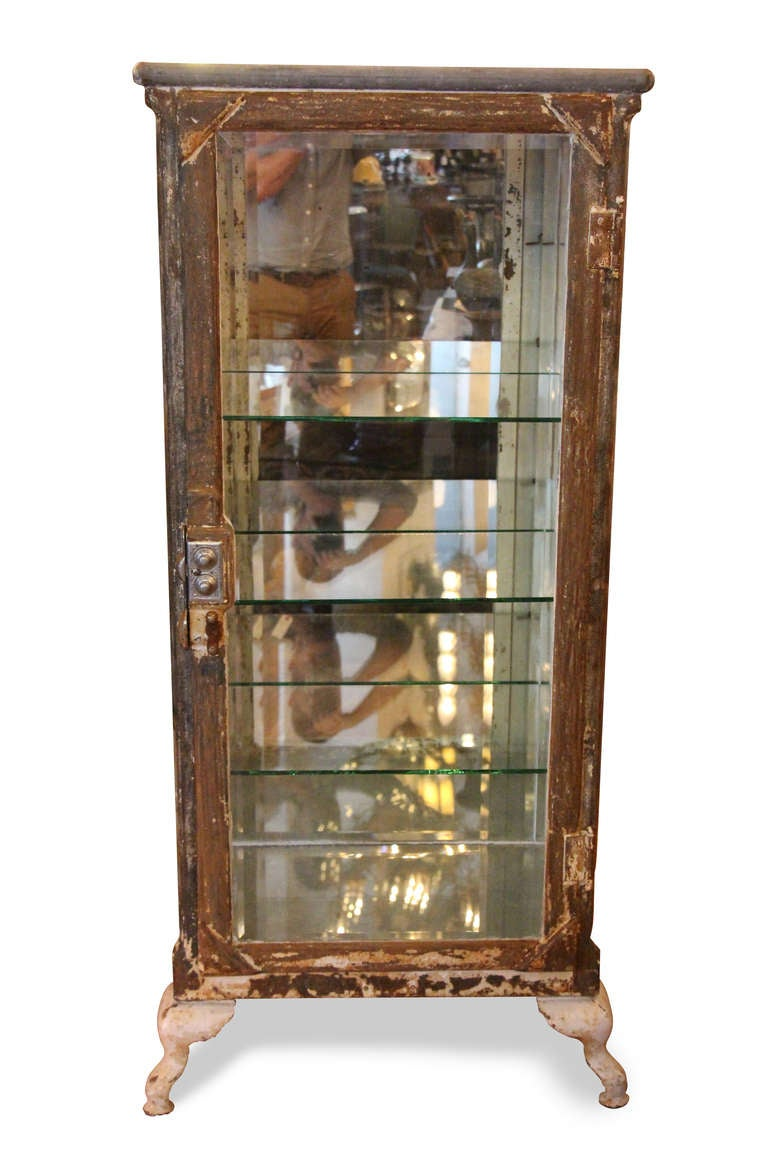 Antique Metal Dental Cabinet Antique Stripped Metal And Glass Medical Cabinet At 1stdibs