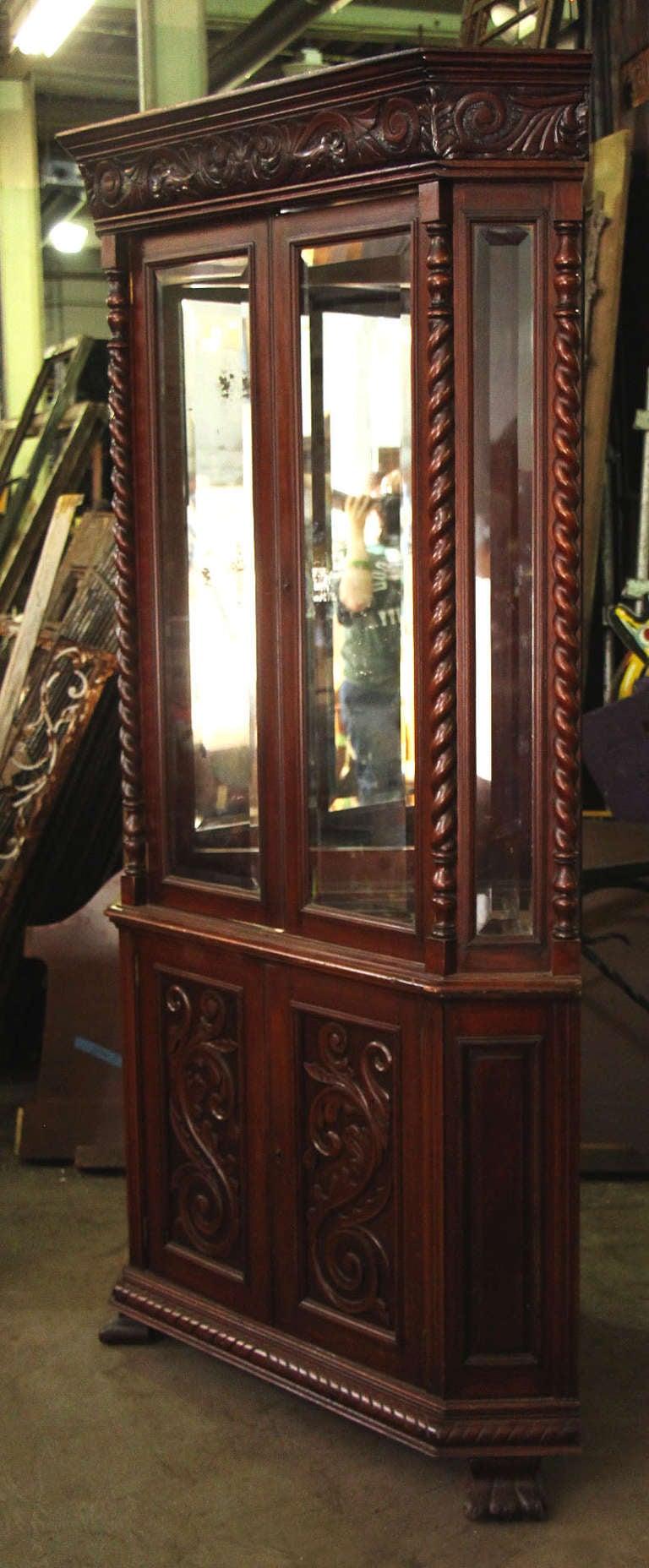 Carved wood corner china cabinet at stdibs