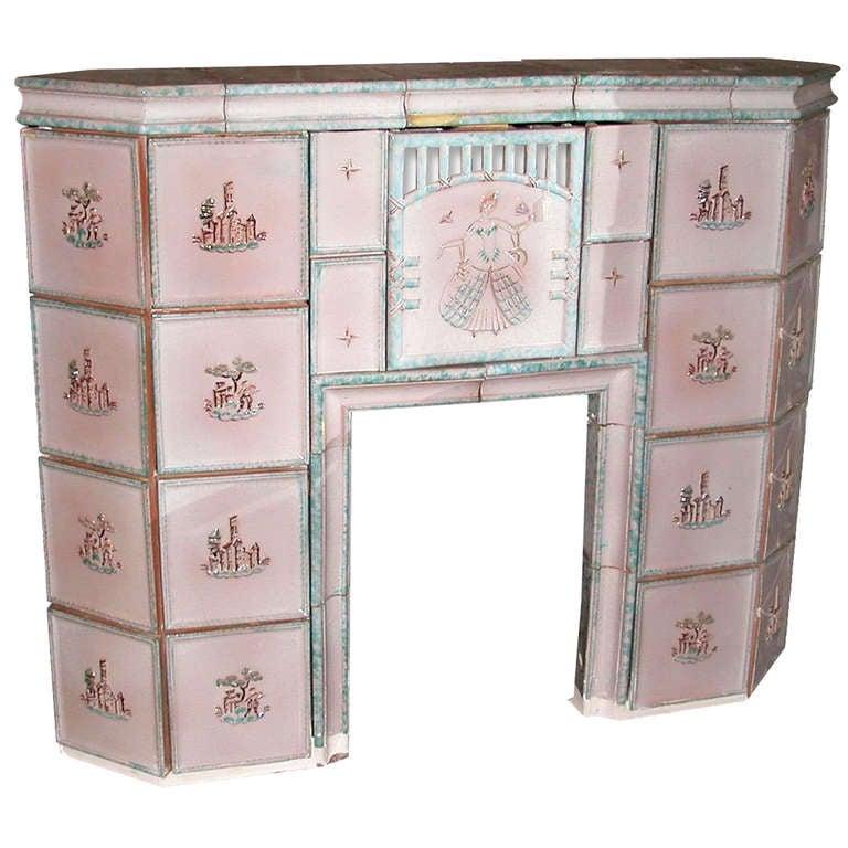 1800s Austrian Pink Tile Mantel With Scences For Sale