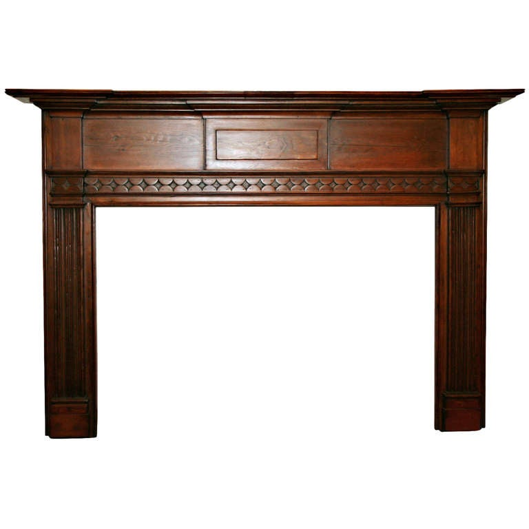 Federal Style Antique Carved Pine Wooden Mantel At 1stdibs