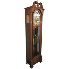 1959 Herschede Grandfather Clock with Five Tubes, Brass Dial and Key