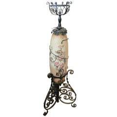 Victorian Kerosene Floor Lamp with Floral Design
