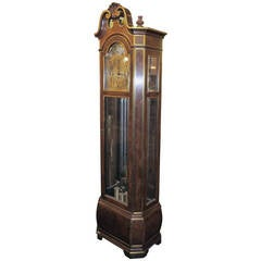 1930s-1940s Herschede Tall Case Clock with Nine Nickel-Plated Brass Bell Tubes