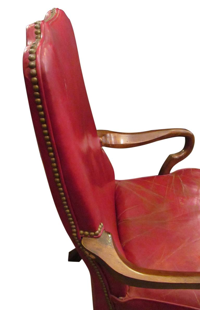 Studded red leather chair at 1stdibs for Leather studded couch