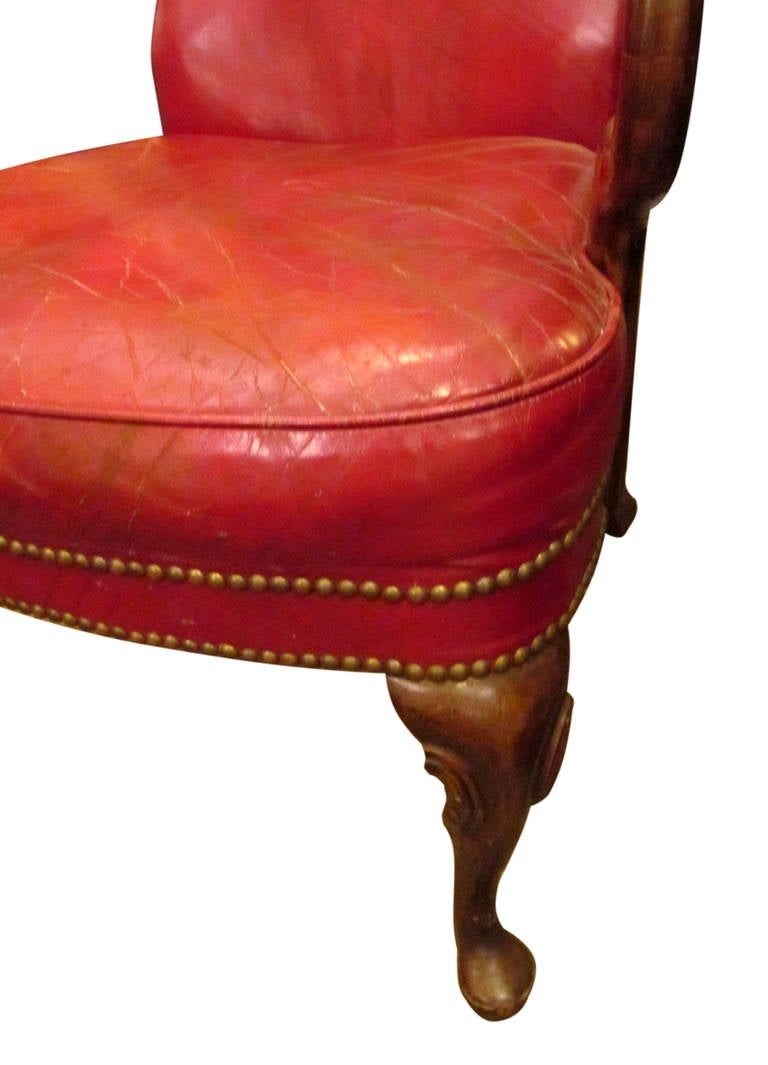 Studded Red Leather Chair At 1stdibs