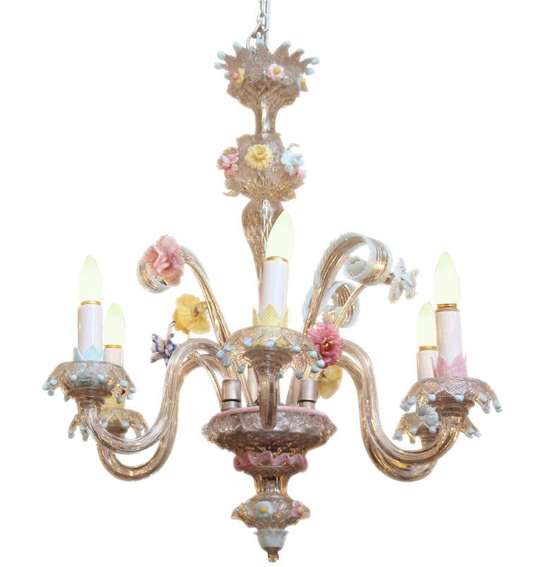 Murano Chandelier Color: Murano Pastel Colored Handblown Glass Floral Chandelier At