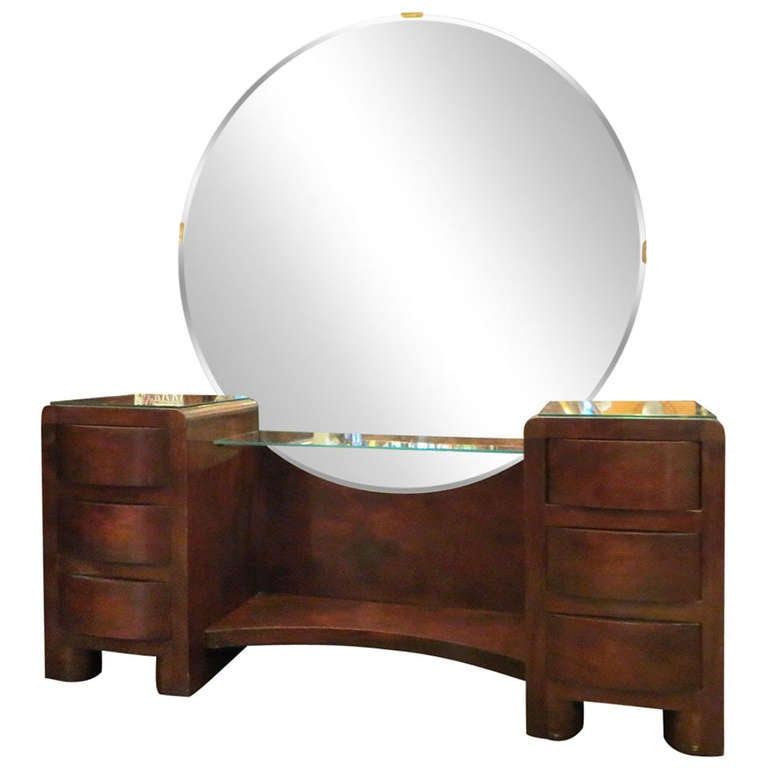 Art Deco Vanity with Round Mirror 1 - Art Deco Vanity With Round Mirror At 1stdibs