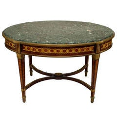 19th c. Louis XVI Style Bronze Trimmed Marble Top Center Table