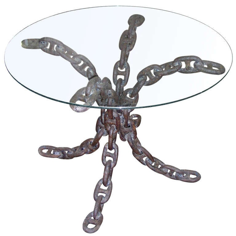 Unique wrought iron nautical chain link table for sale at