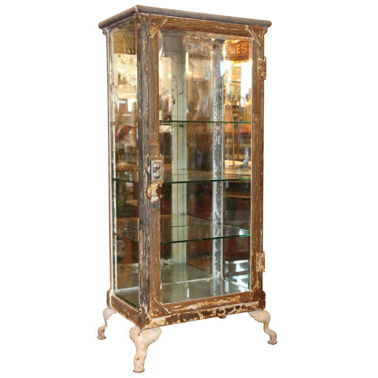 Antique Stripped Metal And Glass Medical Cabinet At 1stdibs