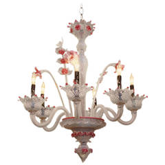 1980s Pink Floral Murano Hand Blown Opalescent Six Light Glass Chandelier